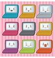 Kawaii doodle laptops set of gadgets vector image vector image