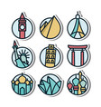 landmark vynil sticker icon vector image vector image