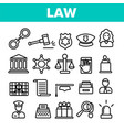 law and order linear icons set vector image