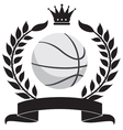 logo with a wreath and a basketball ball vector image vector image