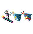 man and woman characters in superhero costumes vector image vector image