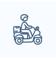Man carrying goods on bike sketch icon vector image vector image