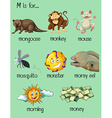 Many words begin with letter M vector image vector image