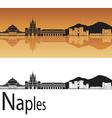 Naples skyline in orange background vector image vector image