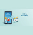 online education learning on mobile phone vector image