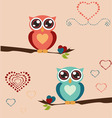owl love print vector image vector image