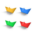 paper boat color set vector image vector image