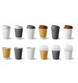 paper cup cardboard cups with cap and mugs vector image