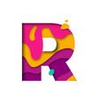 paper cut letter r realistic 3d multi layers vector image