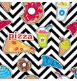 pizza doughnut cocktail smoothie ice ceam xoxo vector image vector image