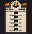 poster for beer pub with live music with a hipster vector image vector image