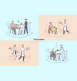 restaurant staff cafe waiter and waitress vector image vector image