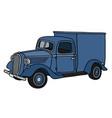 retro blue delivery car vector image vector image