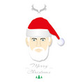 santa hat and beard on white background with vector image
