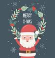 santa wreath floral snowflakes merry christmas vector image