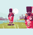 scottish men bagpipers wearing traditional dress vector image vector image
