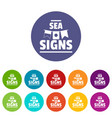 sea signs icons set color vector image