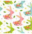 seamless pattern with colorful easter bunnies vector image vector image