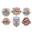 set color vintage badges emblems with a vector image vector image