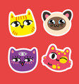 set of cute cat icon color different vector image