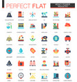 set of flat heavy power industry icons vector image