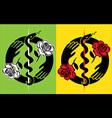 snake symbol flower roses design stamp vector image