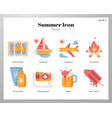 summer icons flat pack vector image vector image