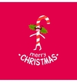 sweet stick cheerful christmas card vector image vector image