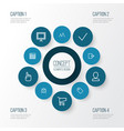 user icons line style set with label shopping vector image