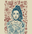 vintage tattoos monochrome poster vector image vector image