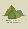 wanderlust label with forest scene and camping vector image vector image