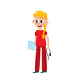 young pretty nurse doctor intern in red scrubs vector image vector image