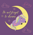 card with unicorn on the moon vector image