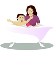 Mother washes crying child vector image