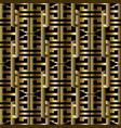 3d gold greek key meanders seamless pattern vector image