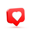 3d heart like social network white background