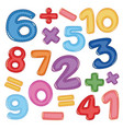 a set of number and math icon vector image