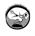 Angry cartoon face with stubble black and white vector image vector image