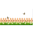 Background with a wooden fence with grass flowers vector image vector image
