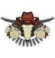 banner with two revolvers skull in hat and roses vector image vector image