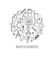 Beauty and cosmetics thin outline icons in vector image