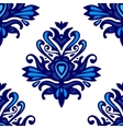 blue and white damask pattern for fabric vector image vector image
