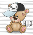 cartoon cool teddy bear with a pink cap on vector image vector image