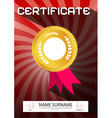 Certificate - A4 Paper on Retro Red Backgrou vector image vector image