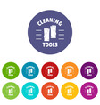 cleaning tools icons set color vector image vector image