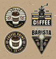 coffee set colorful emblems badges vector image vector image