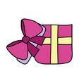 color open present box with ribbon bow vector image