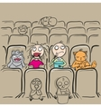 Couple love in cinema theater watching movie vector image vector image