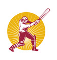 cricket batsman icon vector image vector image