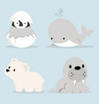 cute artic animals collection in flat design vector image